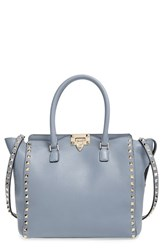 Valentino 'Rockstud Double Handle' Leather Tote Grey