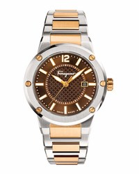 Salvatore Ferragamo 44Mm Stainless Steel Watch Brown Gold Brown Slv Gold