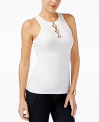Guess Maja Sleeveless Lace Up Top True White