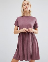 Asos Smock Mini Dress With Crew Neck Oxblood Multi