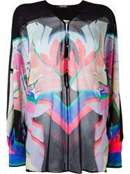 Roberto Cavalli Printed Sheer Blouse Black
