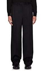 Burberry X Barneys New York Men's Wool Flannel Wide Leg Trousers Navy