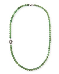 Old World Mossy Aventurine Bead Necklace 36' Armenta Silver