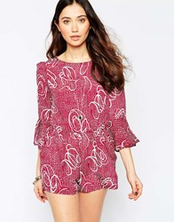 Love Split Back Playsuit With Bell Sleeves Multi