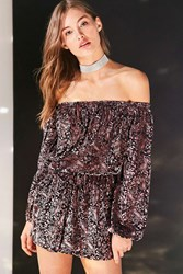 Ecote Burnout Velvet Off The Shoulder Romper Mauve