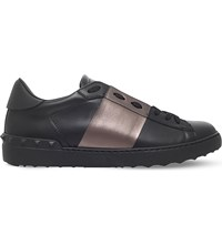 Valentino Rockstud Studded Leather Tennis Shoes Black Comb