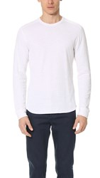 Vince Raw Edge Long Sleeve Crew Neck Tee Heather Optic White
