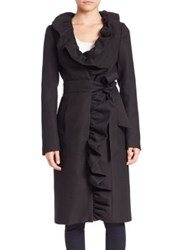 Milly Italian Twill Ruffle Wrap Coat Black