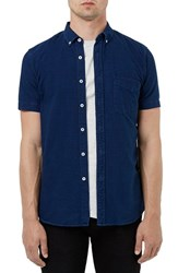 Topman Men's Slim Fit Denim Short Sleeve Shirt Cobalt