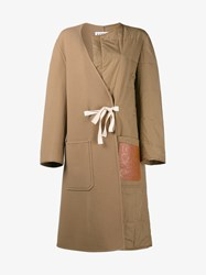 Loewe Virgin Wool Cashmere Blend And Quilted Split Coat Tan Cream