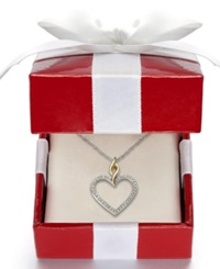 Macy's American Heart Association Diamond Pendant 1 10 Ct. T.W. In 14K Gold And Sterling Silver
