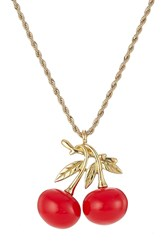 Kenneth Jay Lane Cherry Pendant Necklace Gold