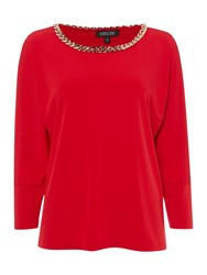 Episode Relaxed Jersey Top With Chain Detail Red
