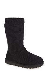 Uggr Women's Ugg 'Capra' Ribbed Knit Genuine Shearling Lined Boot Black Fabric