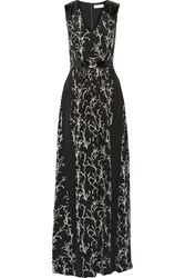 Tanya Taylor Rory Faux Patent Leather Trimmed Silk Crepe Gown Black