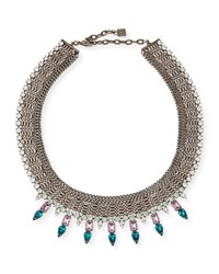 Zoe Multi Chain Necklace With Crystal Spikes Silver Dannijo