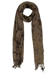 Faith Connexion Embellished Striped Scarf Brown