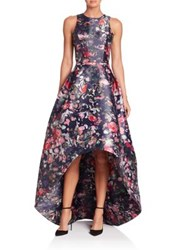 Monique Lhuillier Floral Printed Mikado High Low Gown Midnight