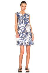 Thakoon Scalloped Hem Pintuck Dress In Blue Floral