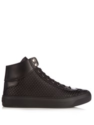 Jimmy Choo Agyle High Top Rubber Stars Satin Trainers Black