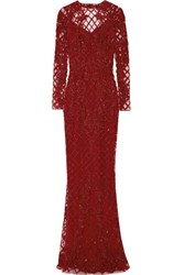 Zuhair Murad Open Back Embellished Silk Blend Tulle Gown Claret