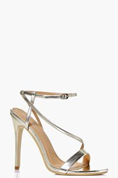 Boohoo Open Back Two Part Sandal Gold