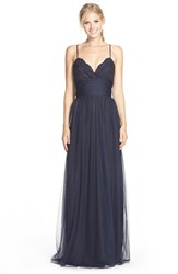 Women's Amsale Lace And Tulle Spaghetti Strap Gown Navy