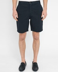 M.Studio Navy Paul Fitted Cotton Shorts