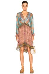Zimmermann Realm Plunge Draw Dress In Blue Floral Pink