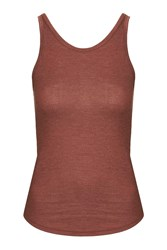 Topshop Strappy Ribbed Vest Rust