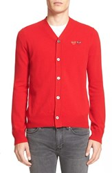 Comme Des Garcons Men's Play Double Heart Wool Cardigan Red