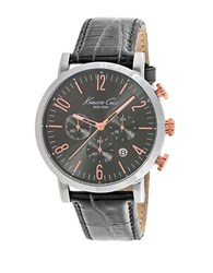 Kenneth Cole Stainless Steel And Gunmetaltone Chronograph Watch Grey