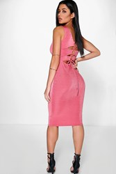 Boohoo Strappy Back Detail Textured Midi Dress Coral