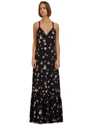 Marc Jacobs Long Floral Dropped Ruffle Slip Dress Black