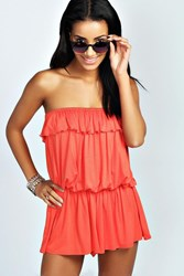 Boohoo Bandeau Ruffle Jersey Playsuit Orange