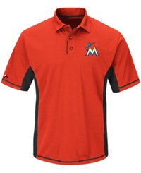 Majestic Men's Miami Marlins Top Of The Inning Polo Orange