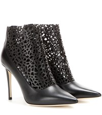 Jimmy Choo Maurice 100 Cut Out Leather Ankle Boots Black