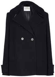 Each X Other Navy Shearling Trimmed Wool Jacket