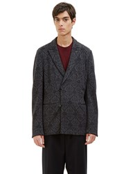 Ermenegildo Zegna Double Breasted Jacquard Blazer Jacket Grey