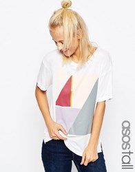 Asos Tall T Shirt In Slouchy Rib With Colour Block Print White
