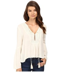 Volcom Salty Free Top Vintage White Women's Long Sleeve Button Up Beige