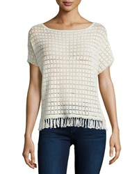 Joie Amal Textured Top With Fringe Trim Women's Size Xs Canvas