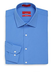 Saks Fifth Avenue Red Trim Fit Poplin Dress Shirt French Blue