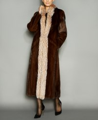 The Fur Vault Fox Trim Mink Maxi Coat Demibuff Crystal
