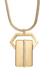 Rachel Zoe 'Stell' Pave Id Pendant Necklace Gold Crystal