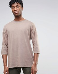 Asos Oversized 3 4 Sleeve T Shirt With Garment Dye And Contrast Neck In Tan Tan Brown