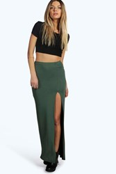 Boohoo Thigh Split Maxi Skirt Khaki