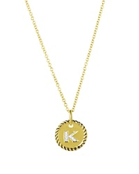 David Yurman Cable Collectibles Initial Pendant With Diamonds In Gold On Chain 16 18 K