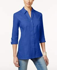 Jm Collection Petite Linen Button Front Tunic Shirt Only At Macy's Blue Steel