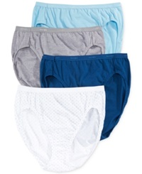 Hanes Platinum Cotton Hi Cut 4 Pack 43C4wd Blue Assorted